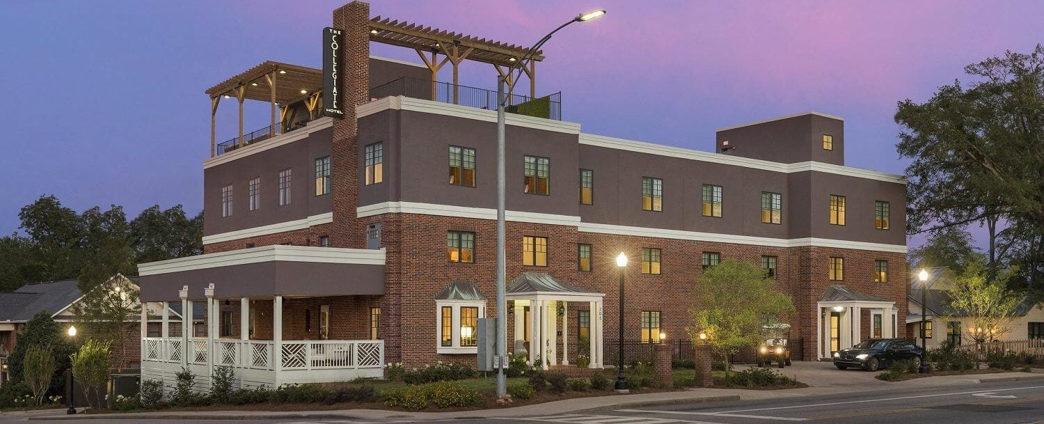 Exterior of of our hotel near Auburn University