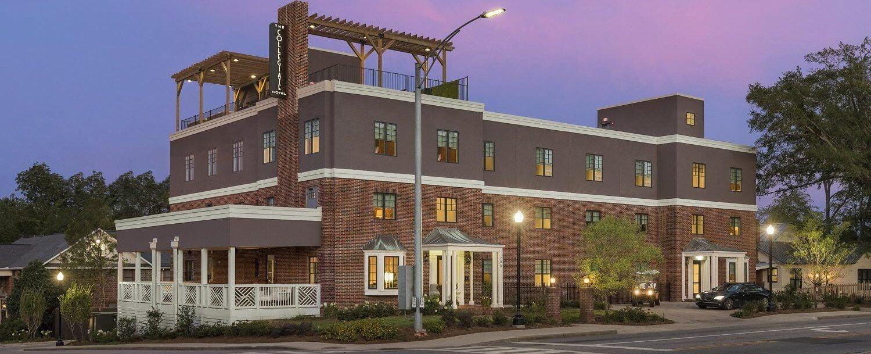 Exterior of of our hotel near Auburn University